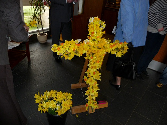 Easter Cross decorated with Daffodils