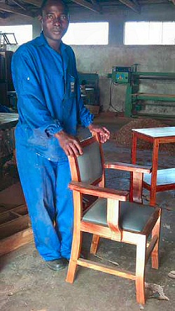 Peter refurbishing a chair