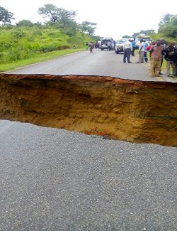 The road to lake Kariba damaged by flood water