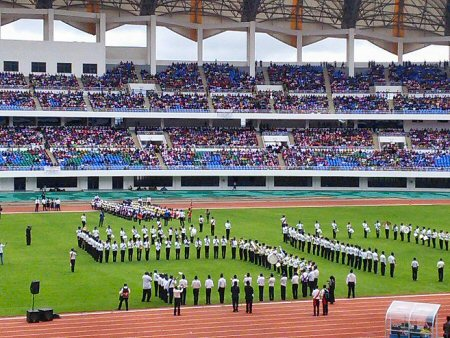 The band spells out 50 for the UCZ jubilee at the national football stadium on 18.01.15.