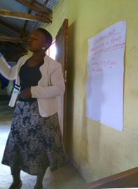 Deaconess Mukambo teaching about cash flow for small businesses