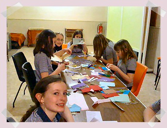 The Guides are busy making cards