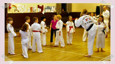 The Taekwondo students learn a new move