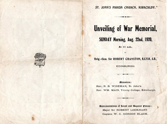 Order of service for the dedication of the St John's WW1 war memorial in August 1920