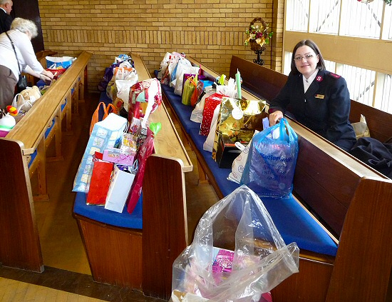 Donated presents are collected by the Salvation Army for distribution around Kirkcaldy at Christmas