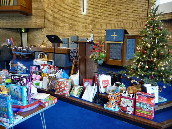 Gifts donated by the congregation for distribution by the Salvation Army